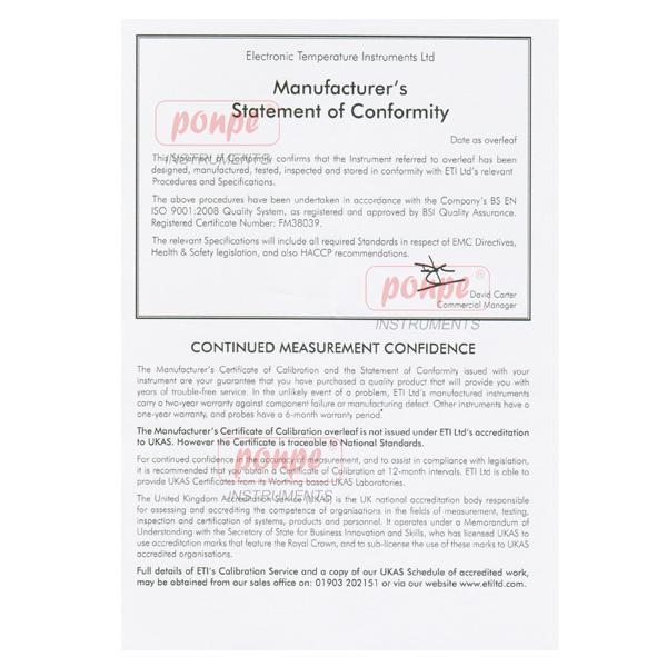 ETI 221-041 Certificate of Calibration